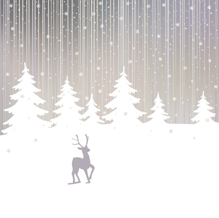 Background of winter forest and deer Vector
