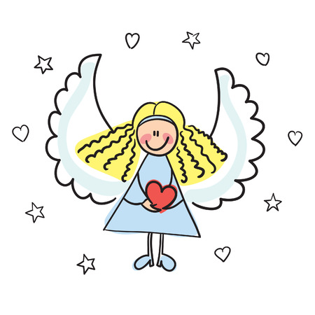 perfection: angel with heart vector illustration