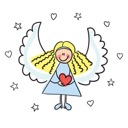 engel met hart vector illustratie  Vector Illustratie