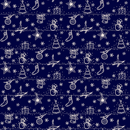dekor: Christmas seamless blue vector background