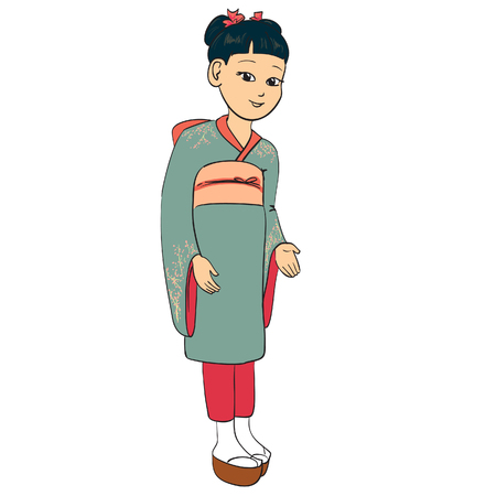 Japanese girl dressed traditional suit kimono Stock Vector - 6104585