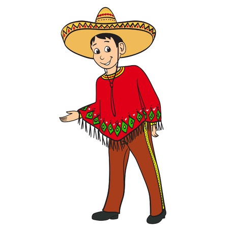 mexican boy: Mexican boy dressed in a traditional suit Illustration