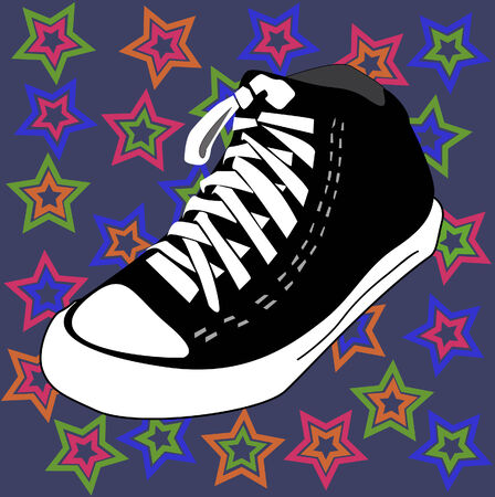 shoe print: disco shoes and stars background