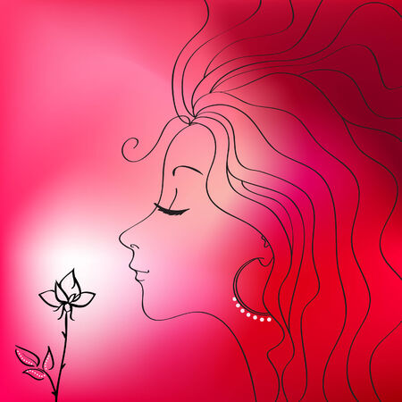 Beautiful woman silhouette illustration Vector