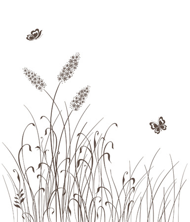 black and white line drawing: grass silhouettes background  illustration