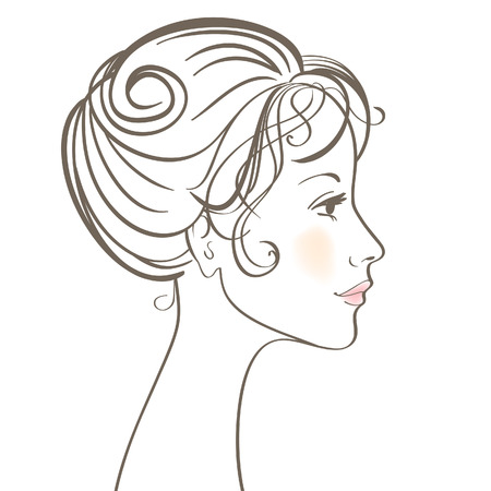 cosmetologies: Beauty women face  illustration