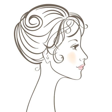 cuello largo: Ilustraci�n de cara de las mujeres de belleza
