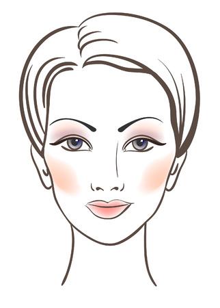 Beauty vrouwen gezicht met make-up illustratie