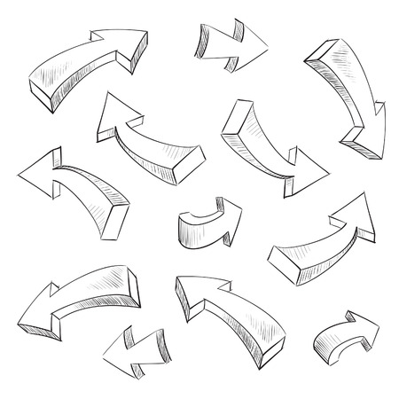 arrow right: Elementi di progettazione abbozzato freccia 3D impostare illustrazione vettoriale