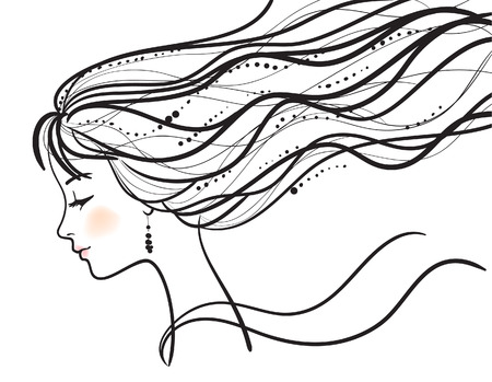 beautiful woman face  illustration Vector