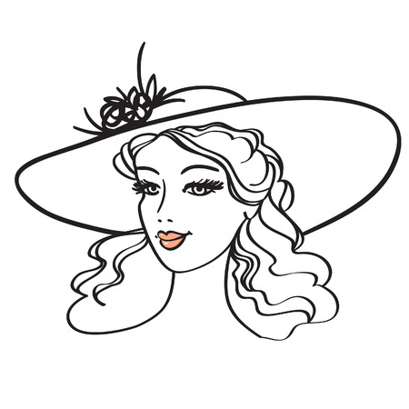 beautiful young woman in hat  illustration Stock Vector - 6612384
