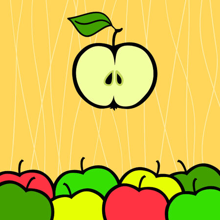 Background with apple  illustration Stock Vector - 6856460