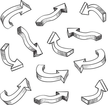 freccia destra: Elementi di progettazione abbozzato freccia 3D impostare illustrazione Vettoriali