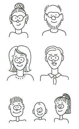 Cartoon family portrait Vector
