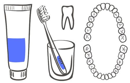 Pasta de dientes, cepillo y los dientes  Ilustración de vector