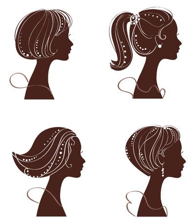 retro model: beautiful women silhouettes