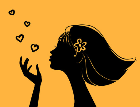 yellow hair: Bella donna silhouette con cuore Vettoriali