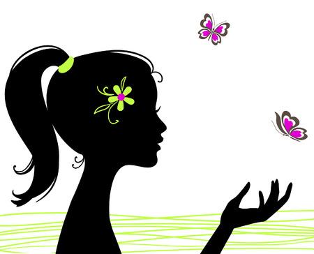 meisje silhouet: mooi meisje silhouet met vlinder