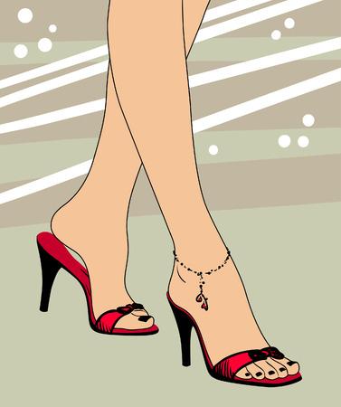 Piedi e scarpe illustrazione vettoriale