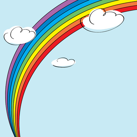 Rainbow and clouds background illustration Vector