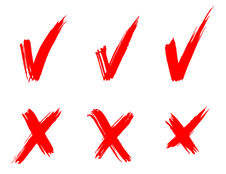 set of red painted ticks Stock Vector - 7461889