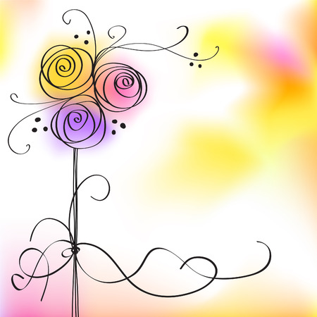 Karte mit Vektor der stilisierten Rosen
