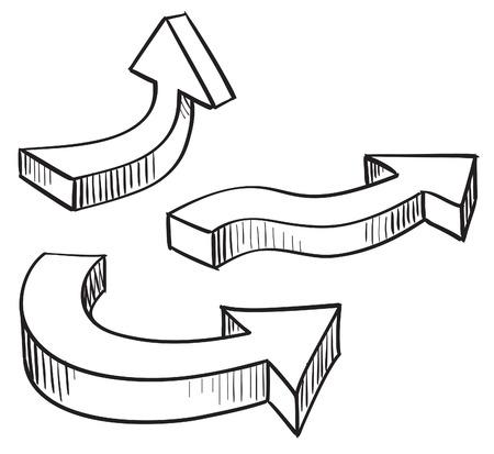 handmade shape: 3D arrow sketchy design elements set illustration Illustration