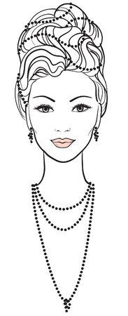 Beautiful young woman. portrait Illustration