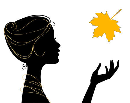 portrait woman: beautiful woman silhouette with leaf
