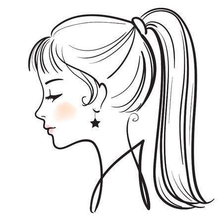vogue: beautiful woman face vector illustration