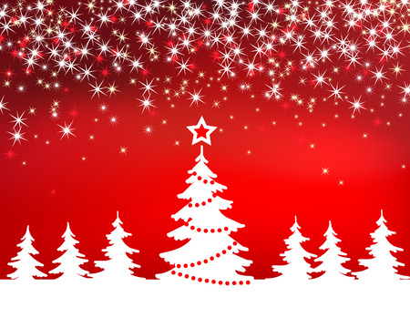 Christmas red sparkle  background with tree Vector
