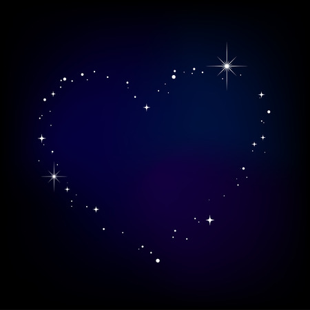 Star heart in night sky Stock Vector - 7949289