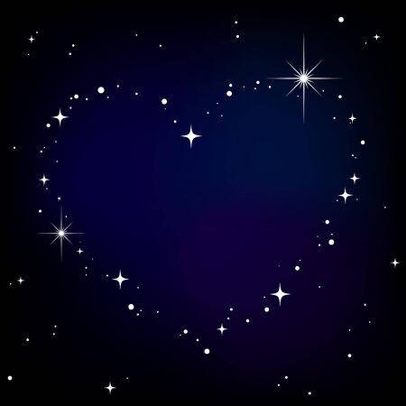 Star heart in night sky Stock Vector - 8019802