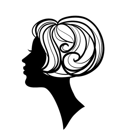 woman face profile: beautiful woman  silhouette with hairstyle