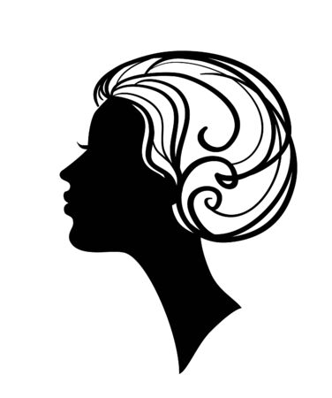 beautiful woman  silhouette with stylish hairstyle Stock Vector - 8019800