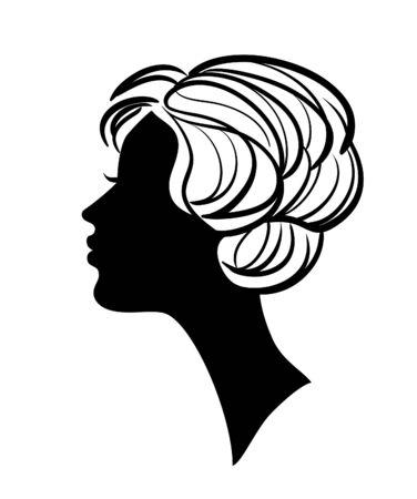 perfil de mujer rostro: Silueta de mujer hermosa con icono de peinado con estilo Vectores