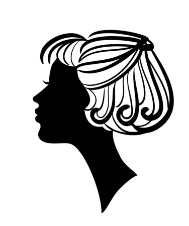 Beautiful woman silhouette with stylish hairstyle vector icon Vector