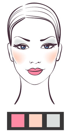 cheeks: Beauty women face with makeup  illustration  Illustration
