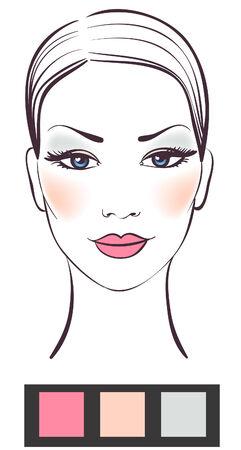 Schoonheid vrouwen gezicht met make-up illustratie