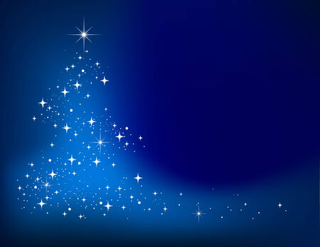 Blue   abstract winter background with stars Christmas tree Vector