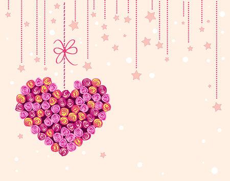 valentine background with floral heart Illustration