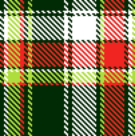 Seamless checkered red green white pattern Vector