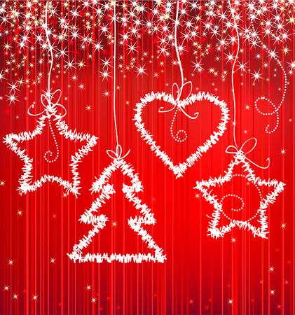 Christmas red sparkle background with tree, star, heart Stock Vector - 8261038
