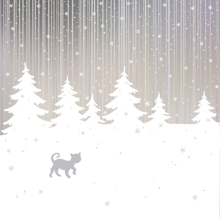 Vector christmas background with cat and winter tree  Vector