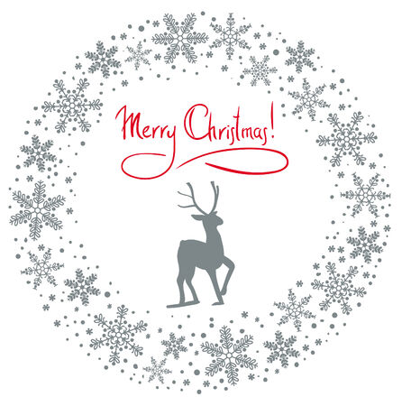 Christmas snow garland background with deer Vector