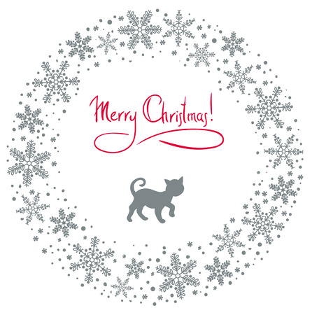 christmas background with cat and snowflakes Stock Vector - 8419971
