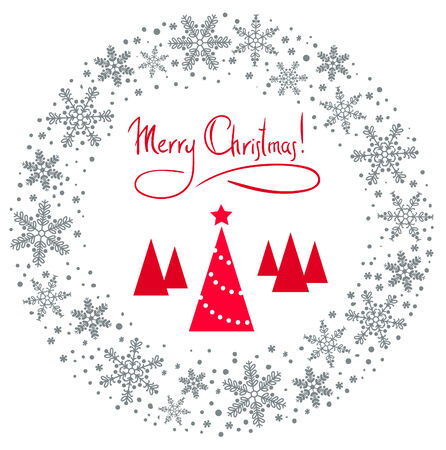 Christmas Wreath with tree and red star Vector
