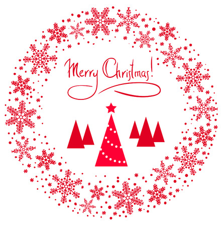 back round: Vector Christmas Wreath with tree and red star