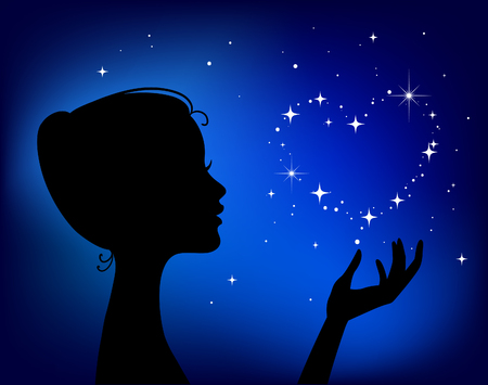 bella donna silhouette con cuore di stelle Vettoriali