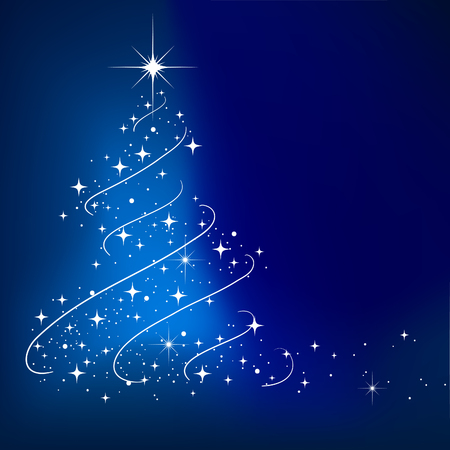 Blue vector abstract winter background with stars Christmas tree Vector